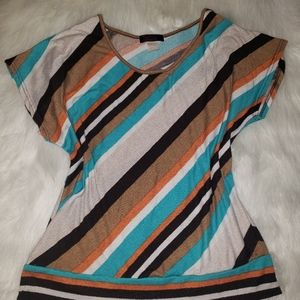 Casual Striped Short Sleeve Top